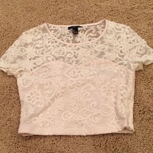 Forever 21 Lacs Crop Top off white/cream colored